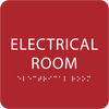 Red Tactile Electrical Room Sign
