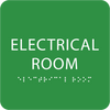 Light Green Tactile Electrical Room Sign