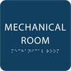 Dark Blue Tactile Mechanical Room Sign