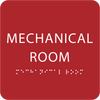 Red Tactile Mechanical Room Sign
