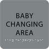 Grey Baby Changing Area Tactile Sign