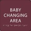 Burgundy Baby Changing Area BrailleSign