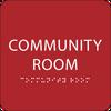 Red Community Room ADA Sign