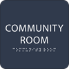 Blue Community Room Braille Sign