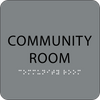 Grey Community Room Tactile Sign