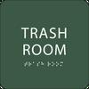 Green Trash Room Tactile Sign
