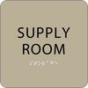 Brown Supply Room Tactile Sign