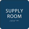 Blue Supply Room Tactile Sign