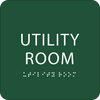 Green Utility Room Braille Sign