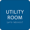 Blue Utility Room Braille Sign