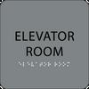 Grey Elevator Room Braille Sign