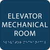Dark Blue Elevator Mechanical Room ADA Sign
