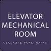 Purple Elevator Mechanical Room ADA Sign