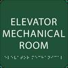 Green Elevator Mechanical Room ADA Sign