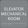 Grey Elevator Mechanical Room Tactile Sign