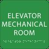 Green Elevator Mechanical Room Braille Sign