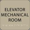 Brown Elevator Mechanical Room Braille Sign
