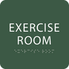 Green Exercise Room Braille Sign