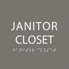 Dark Grey Janitor Closet ADA Sign