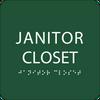 Green Janitor Closet ADA Sign