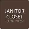 Dark Brown Janitor Closet ADA Sign