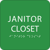 Green Janitor Closet Braille Sign