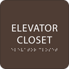 Dark Brown ADA Elevator Closet Sign
