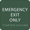 Green Emergency Exit Only Braille Sign