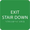 Green Exit Stair Down ADA Sign