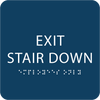 Dark Blue Exit Stair Down ADA Sign