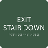Green Exit Stair Down Braille Sign