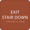 Orange Exit Stair Down ADA Sign