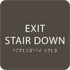 "Exit Stair Down ADA Sign - 6"" x 6"""
