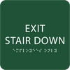Green Exit Stair Down Tactile Sign