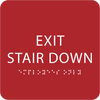 Red Exit Stair Down ADA Sign