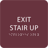 Burgundy Exit Stair Up ADA Sign