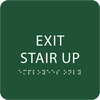 Green Exit Stair Up Braille Sign
