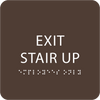 Dark Brown Exit Stair Up ADA Sign