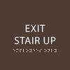 Dark Brown Exit Stair Up ADA Sign