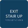Dark Blue Exit Stair Up ADA Sign