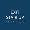 Dark Blue Exit Stair Up ADA Sign