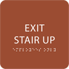 Orange Exit Stair Up ADA Sign