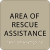 Brown Area of Rescue Assistance Braille Sign