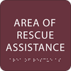 Burgundy Area of Rescue Assistance ADA Sign