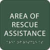 Dark Green Area of Rescue Assistance ADA Sign