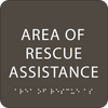 "Area of Rescue Assistance ADA Sign - 6"" x 6"""