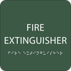 Green Fire Extinguisher Braille Sign