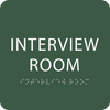 Green Interview Room Tactile Sign