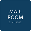 Dark Blue Mail Room ADA Sign