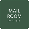 Green Mail Room Braille Sign